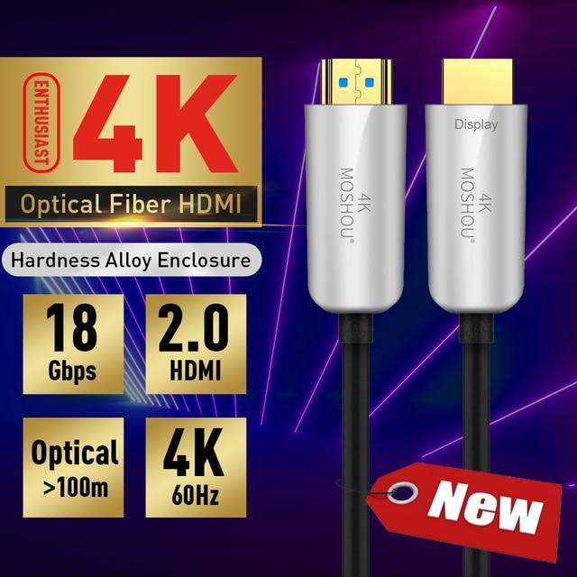 Moshou Người Đam Mê Quang Có Dây Cáp HDMI 2.0 HD 4K Cáp 60GHz 18Gbs Có Âm Thanh & Ethernet Dây HDMI máy Nghe Nhạc Lossless Cáp HDMI