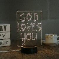 Deus Te ama a Luz Da Noite 3D Crianças Quarto Art Decor lâmpada de Mesa Quente Iluminação LED Lampara Casa Noturna Atmosfera de Férias presente