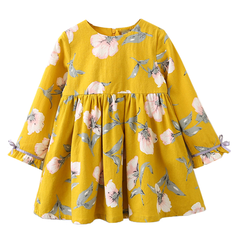 Menoea Girls Dresses 2018 New Autumn Fashion Style Children Bow Princess Clothing Dress Kids Long-Sleeve Printed Cute Dress 3-9Y belababy baby girls preppy style dress princess children autumn double breasted cute kids casual long sleeve dresses for girls