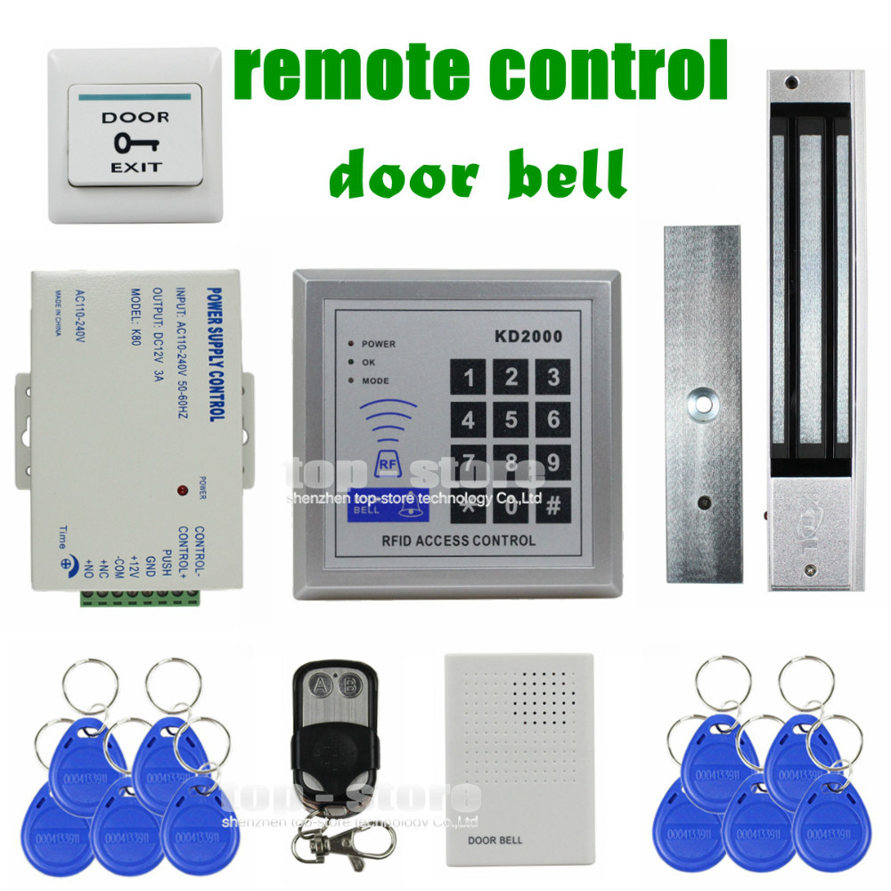DIYSECUR Remote Control Door Bell 125KHz RFID Keypad Access Control System Security Kit + 280kg 600lb Magnetic Lock KD2000 diysecur touch button rfid 125khz metal keypad door access control security system kit magnetic lock for home office use