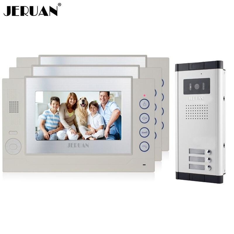 JERUAN Apartment White Doorbell 7`` LCD Video Door Phone Record Intercom System 3 Monitor 700TVL IR COMS Camera for 3 Household