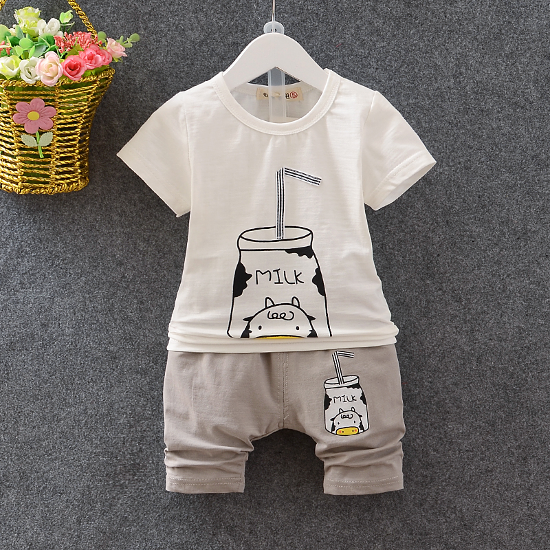 Baby Boys Clothing Sets Girls Summer Clothing Sets Cartoon MILK 2017 Newborn Baby Clothes Tshirts+Shorts 2piece Sets baby girls summer clothing girls july 4th anchored in god s word shorts clothes kids anchor clothing with accessories