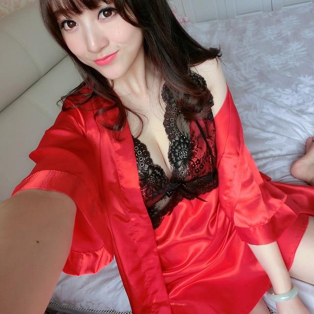 High Quality Sexy Women Silk Nightgown Robe Set Strap Dress + Robe Sleepwear Two Piece Female Nightwear Drop Shipping 2017 Fall