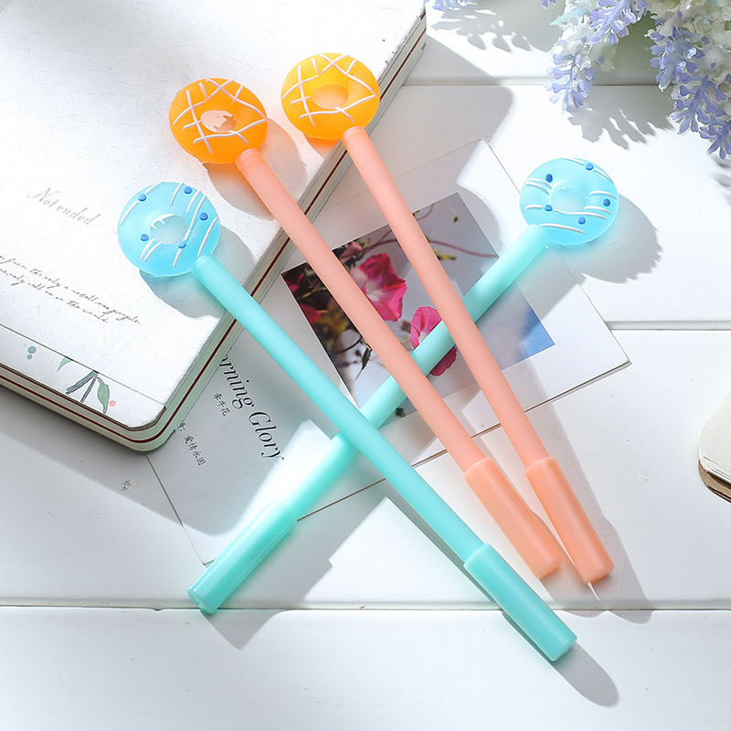 Creative Sweet Candy Color Gel Pen Doughnut Funny Cartoon Kawaii Stationery School Office Supplies Lovely Cute Stationary Store