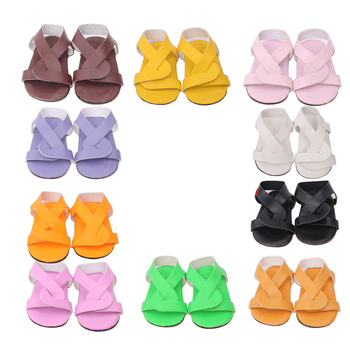 цена на 18 inch Girls doll shoes Minimalist sandals 10 colors dress shoes American new born accessories Baby toys fit 43 cm baby s188