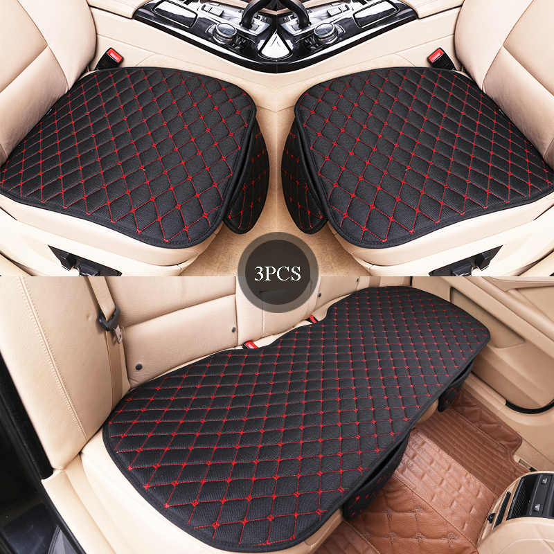 Universal 3Pcs 3D Full Surrounded Front+Rear Flax Car Seat Cushion Cover US Ship