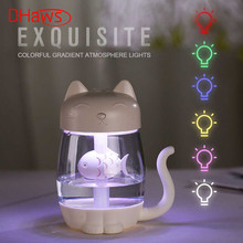 DHaws 3 In 1 350ML USB Cat Air Humidifier Ultrasonic Cool-Mist Adorable Mini Humidifier with LED Light Mini USB Fan Home Office 3 in 1 200ml usb cat air humidifier ultrasonic cool mist adorable mini humidifier with led light mini usb fan for home office