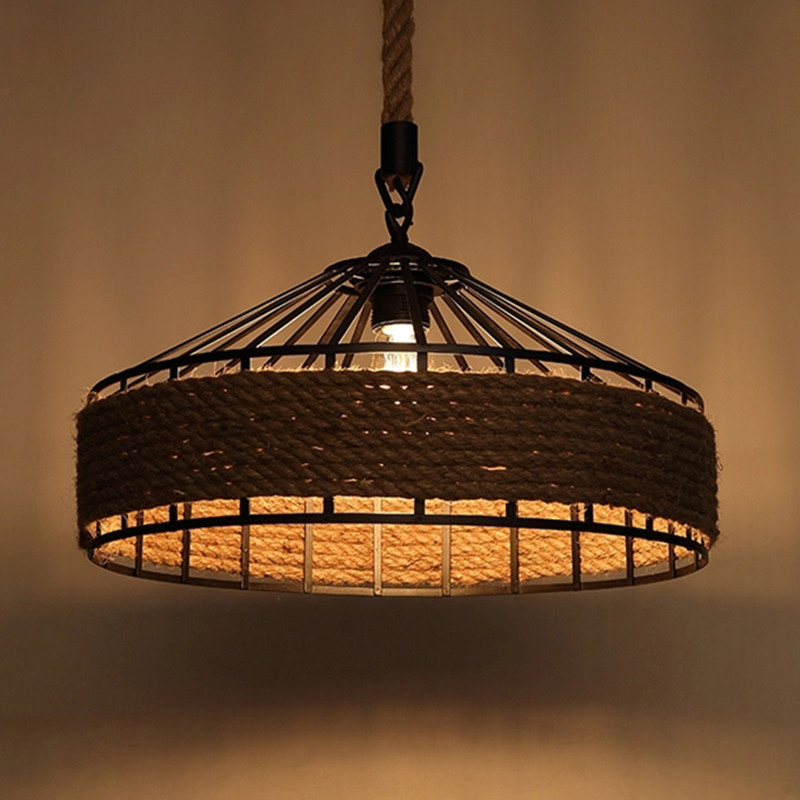 Retro Loft Hemp Rope Pendant Lamp American Countryside Art Rope Birdcage Cafe Bar Light Fixtures Edison Bulb Light Free Shipping american industrial vintage loft creative hemp rope house pendant light restaurant cafe decoration retro lamp free shipping
