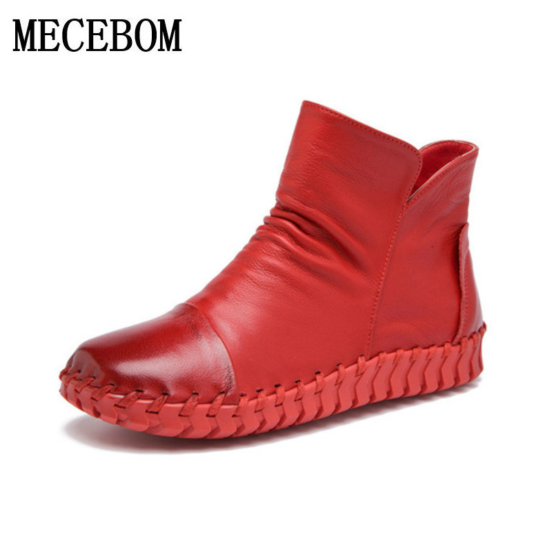 Snow Boots Women's Shoes Ladies Female Plush Winter warm Fur Rubber Genuine Leather Lace Up Flats Round Toe vintage boots A661W