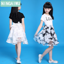 Children's clothes girls dress 2018 summer wear new cuhk children's short sleeves princess dresses for 5 6 8 10 12 14 years old цена и фото