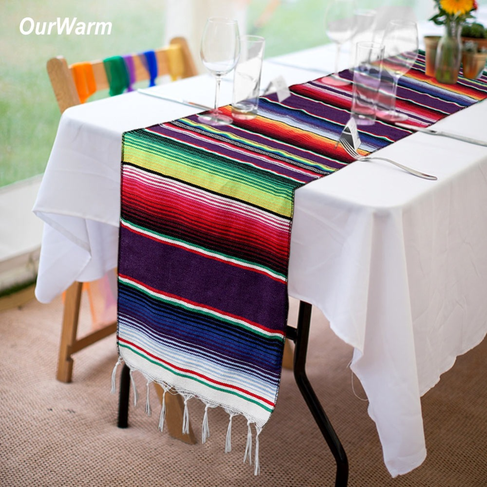 OurWarm Fiesta Themed Party Mexican Cotton Table Runner