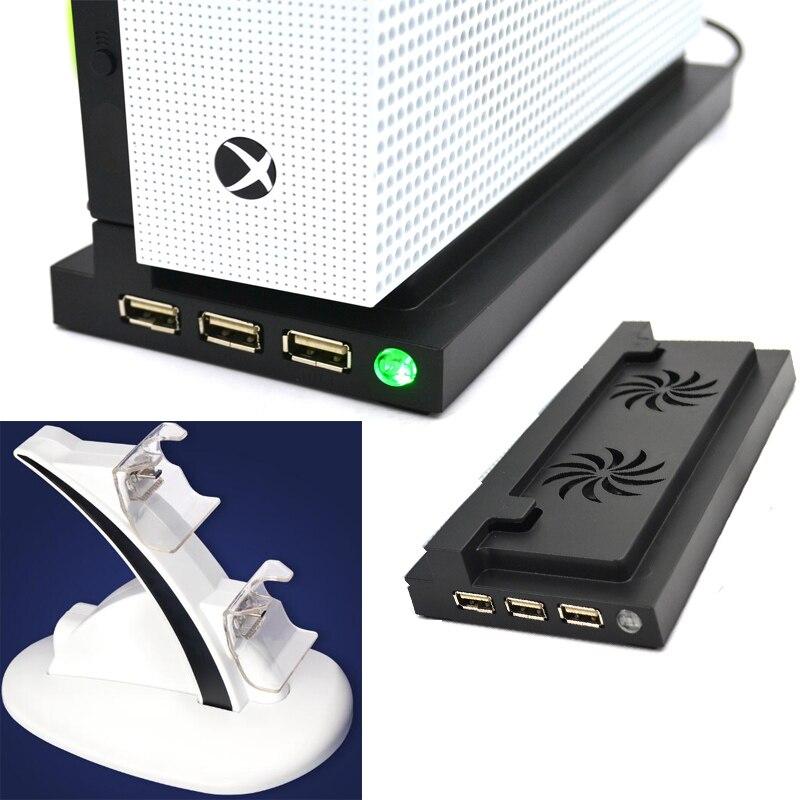 X-one s ventilador soporte Bases fresco titular soporte vertical 2 enfriador USB hub estación de carga de muelle para X-ONE slim Xbox One slim
