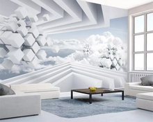 Beibehang wallpaper photo geometric space blue sky white clouds 3d stereo TV background wall living room bedroom 3d wallpaper beibehang blue sky and white clouds wallpapers house interior decoration living room ceiling entrance 3d photo wallpaper mural