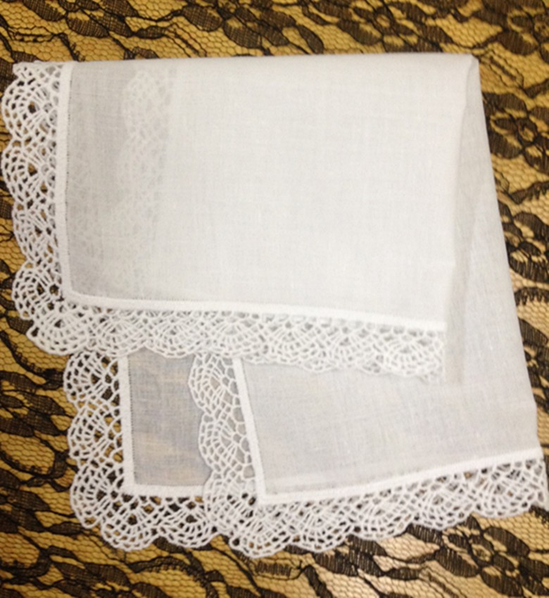 Set Of 12 Fashion Wedding Bridal Handkerchiefs Embroidered Crochet Lace Edges Hankies Hanky 12x12-inch