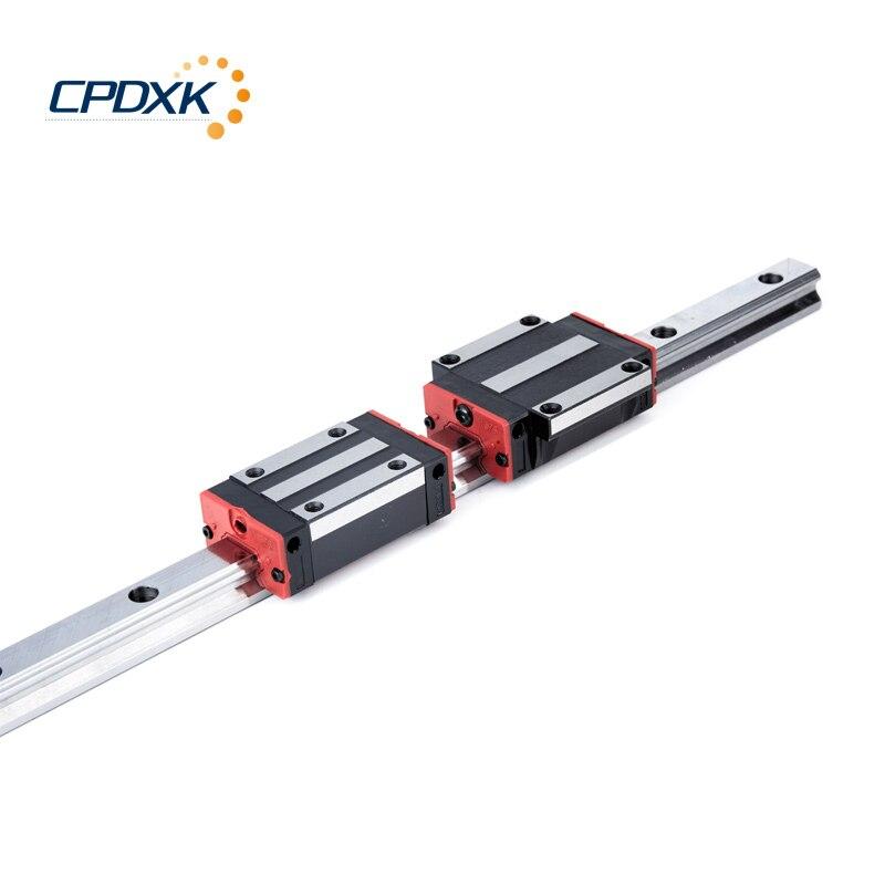 Novo guia linear ferroviário HGR15 400mm de comprimento com 2 pcs transporte bloco linear HGH15CA/HGW15CC peças CNC