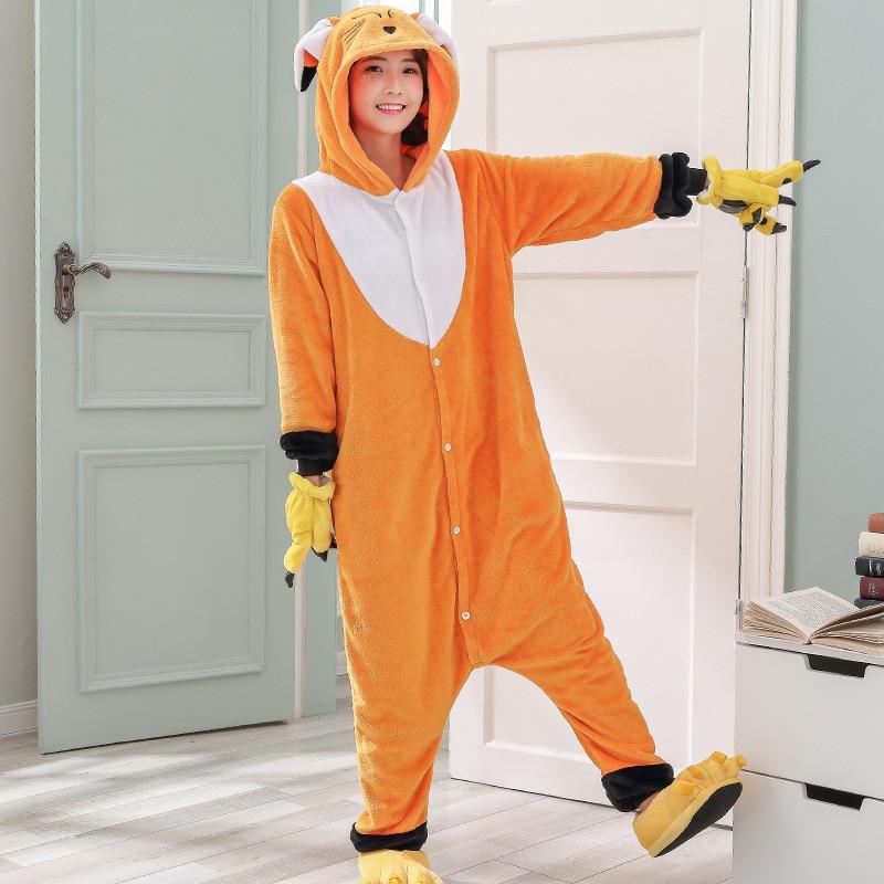 Kawaii Fox Kigurumi Onesie Animal Cartoon Sleepwear Pajama Orange White Soft Onepiece Adult Women Winter Suit Festival Outfit (1)