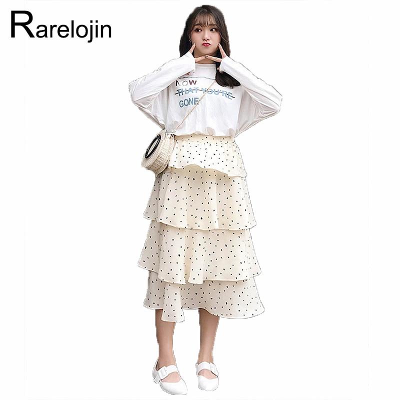 f49c28987 Falda de Primavera Verano 2019 nueva moda más Falda plisada de talla grande  para mujer falda suelta ...