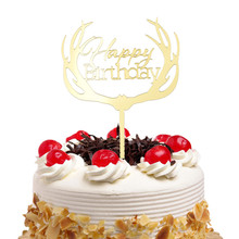 Cake Toppers Happy Birthday Wedding Gold Silver Cupcake antlers Acrylic Topper Flags Baby Shower Baking Decor DIY Party