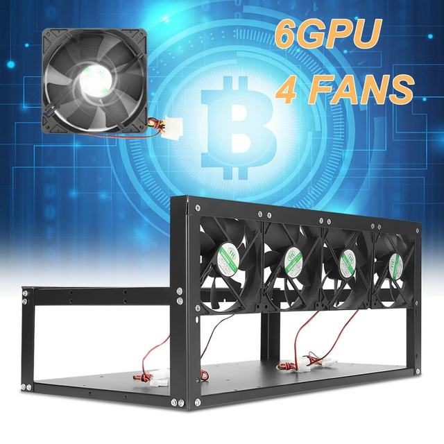6 GPU 4 Fans Open Air Pro Mining Computer Alloy Case Frame Rig 4 for 6 GPU ETH BTC ZEC Ethereum