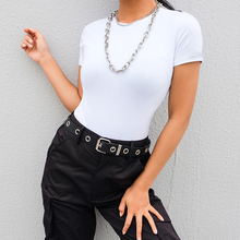 Black White Women Summer Short Sleeve Bodysuit