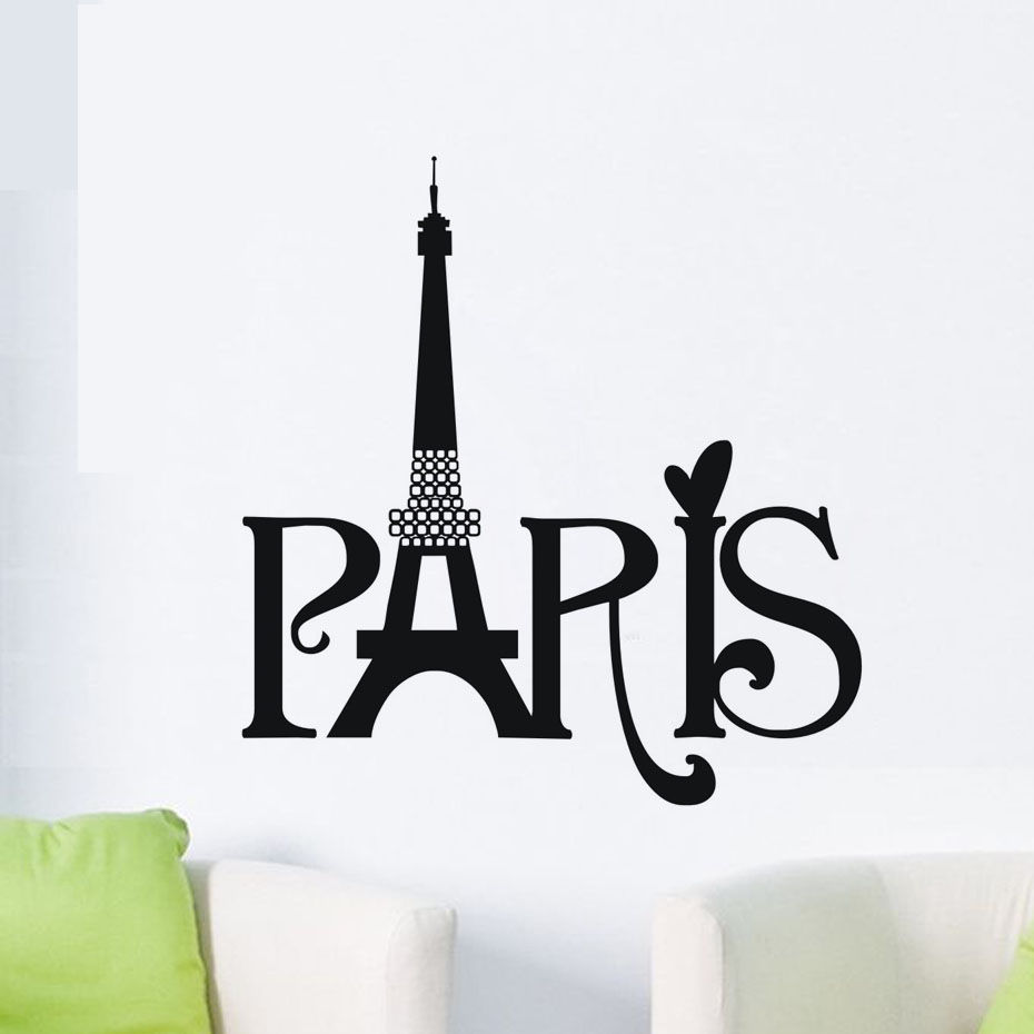 Quote paris vinyl wall decal home decor living room eiffel tower quote paris vinyl wall decal home decor living room eiffel tower wall sticker for bedroom custom size available wallpaper za523 in wall stickers from home amipublicfo Images