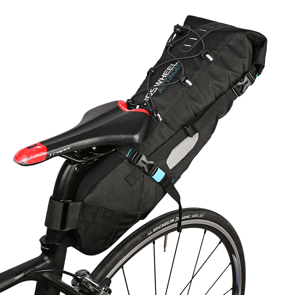 купить ROSWHEEL 10L Bicycle Saddle Bag Nylon with Double-wall TPU Water-resistant Bike Tail Bag Bicycle Rear Pack Unisex Bag недорого