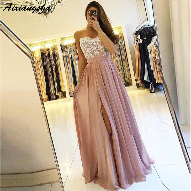 Spaghetti Strap Dusty Rose Blush   Prom   Gowns with Slit Cheap Lace Bodice Chiffon A-Line Long Party   Prom     Dresses