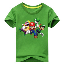 2018 Children New 3D Cartoon Mario Print Short Sleeve T-shirt For Boy Girl 100%Cotton Tshirt Clothes Kid Tee Tops Costume ACY012