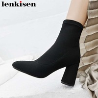 2018 модные однотонные классические с квадратным носком Высокие толстые каблуки без шнуровки Вязание растягивающиеся сапоги зимние теплые б