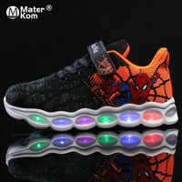 Pointure 25-33 LED chaussures enfants Spiderman baskets lumineuses chaussures garçons chaussures Fiber optique Chaussure Enfant Spor Ayakkabi Buty LED Kinder