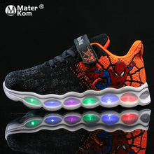 Size 25-33 LED Kids Shoes Spiderman Glowing Sneakers Boys