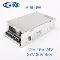DIANQI 48V Switching Power Supply 500w 5V 12V 15V ac to dc converter ac dc transform for LED strip 24V 27V 36V S 500 adjustable