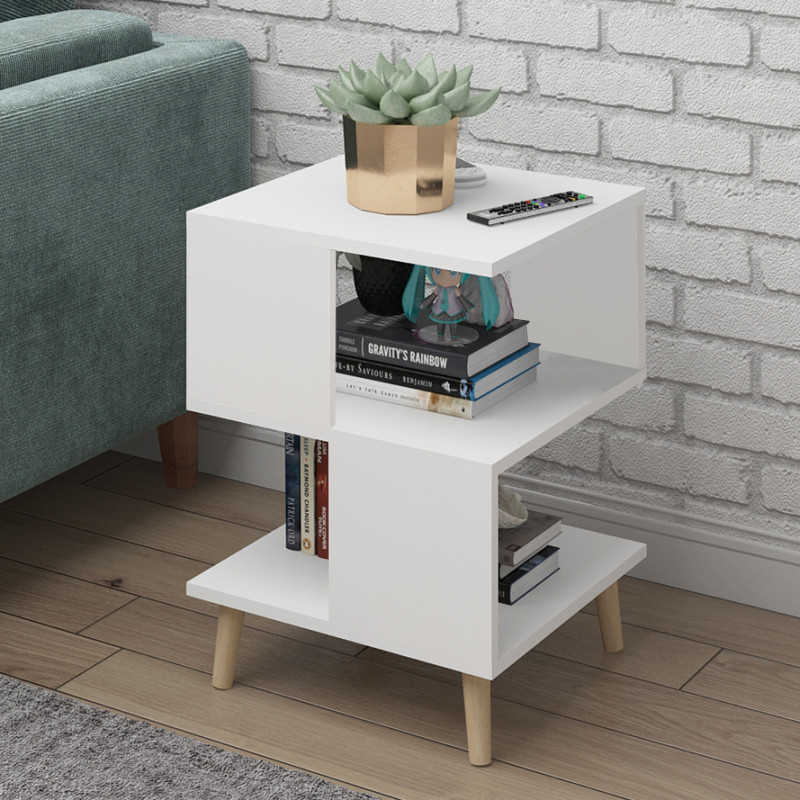 H Living room modern coffee table solid wood leg storage table floating window mini talk tea table bedroom bedside table