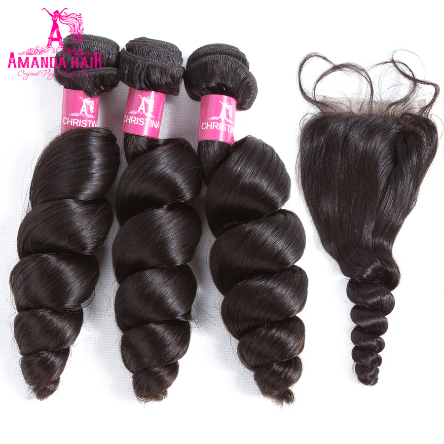 Amanda Human Hair Loose Wave Peruvia Hair Weave Bundles with Closure Free Part 4pcs/lot  ...