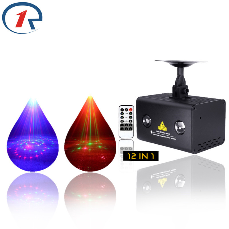ZjRight Laser Stage Light LED IR Control 12 patterns Red Green Blue projection christmas lights Party KTV Bar DJ Disco lighting niugul dmx stage light mini 10w led spot moving head light led patterns lamp dj disco lighting 10w led gobo lights chandelier