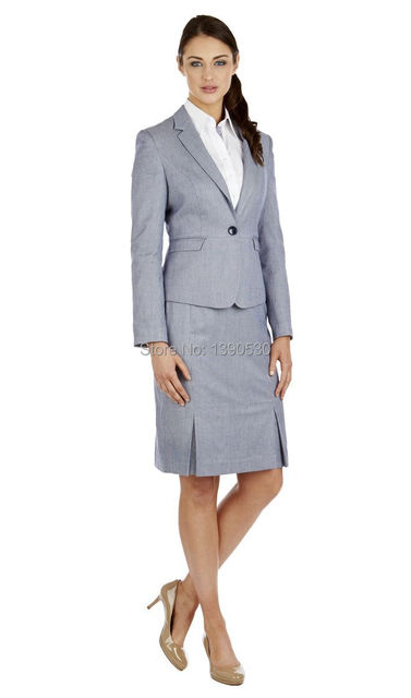 2016 New Style custom made 100% wool light grey  OL one button notch lapel women work skirt suits(jacket+skirt)