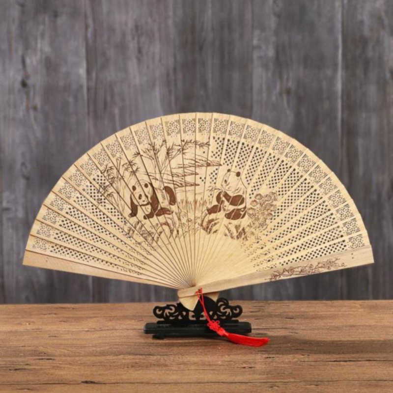 Chinese Style Wooden Fan Hand Craft Openwork Personal Folding Fan Wedding Decoration Birthdays Home Gifts