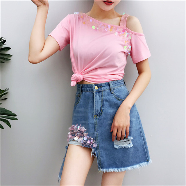 630e178724 Sequins Suits Short Sleeve tshirts and Denim Skirts 2 piece set Women  Ripped Skirt and Pink