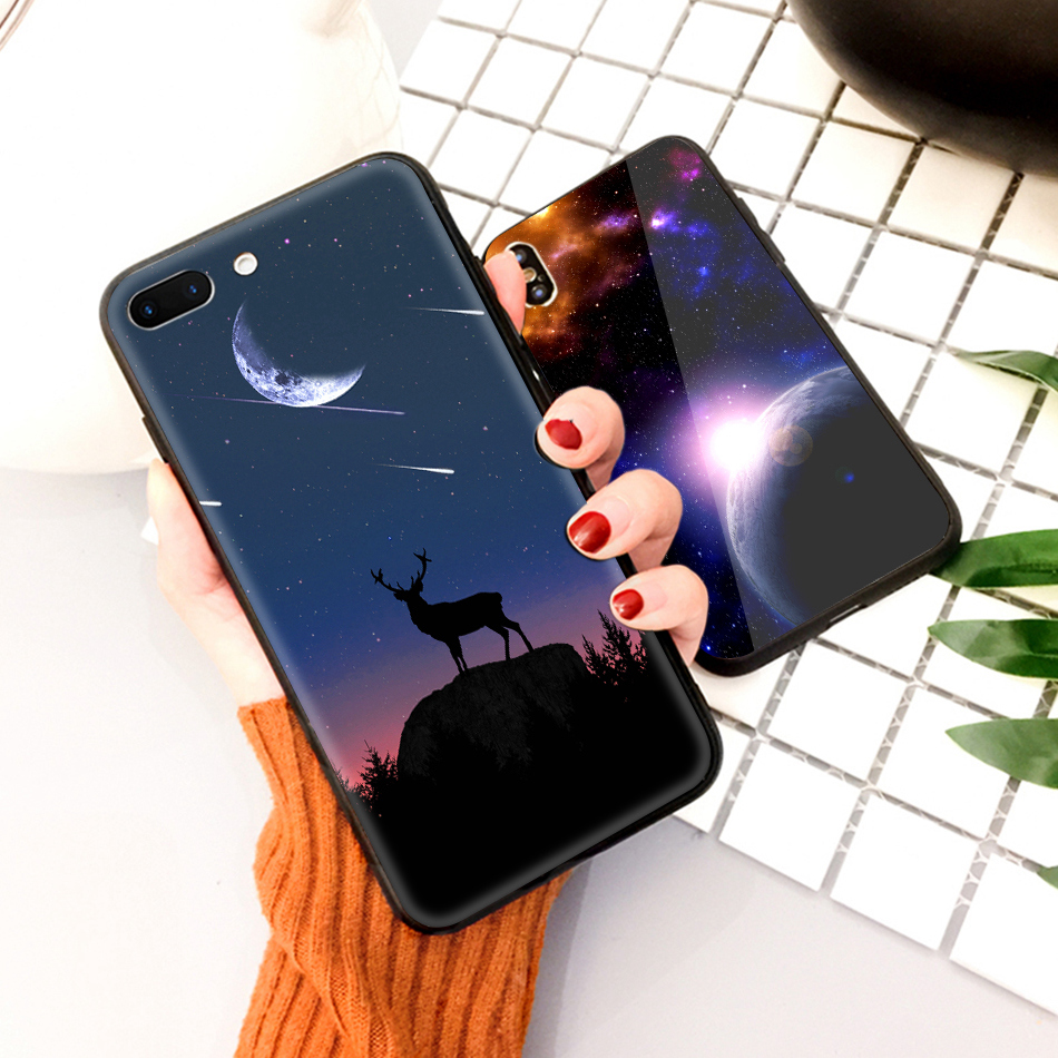 TOMKAS Star Sky Pattern Glass Case For iPhone X 7 8 6 6 s Cover Phone Cases For iPhone 7 8 6 6s Plus X Case Silione TPU PC Coque (13)