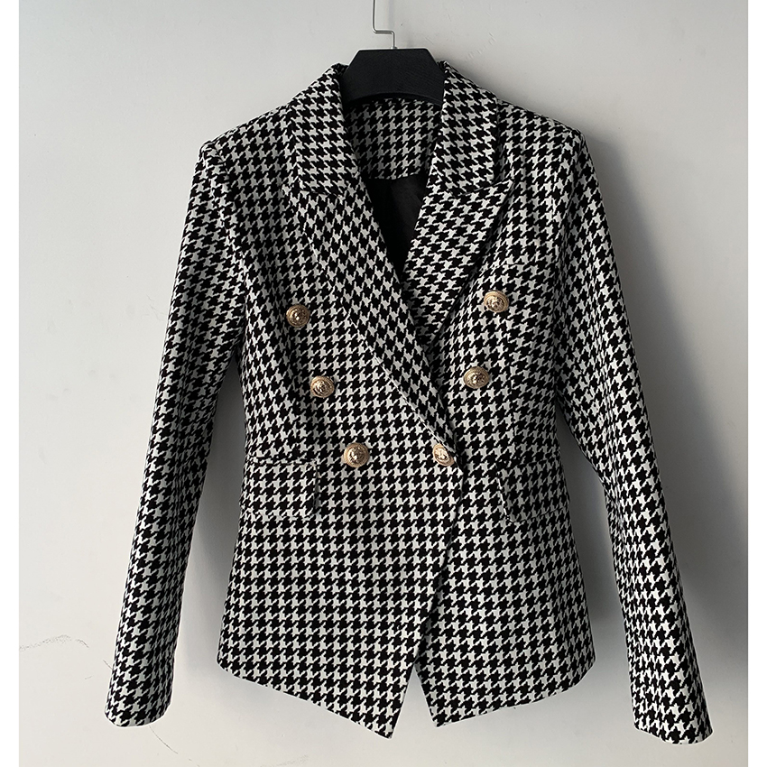 Women's Double Breasted Lion Buttons Blazer Jacket 1