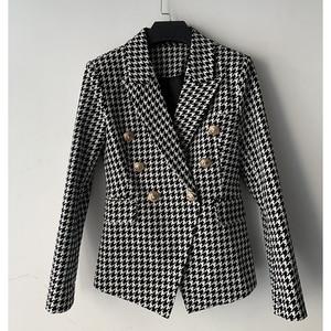 Image 2 - High street elegante 2020 runway blazer feminino duplo breasted leão botões houndstooth carreira blazer jaqueta