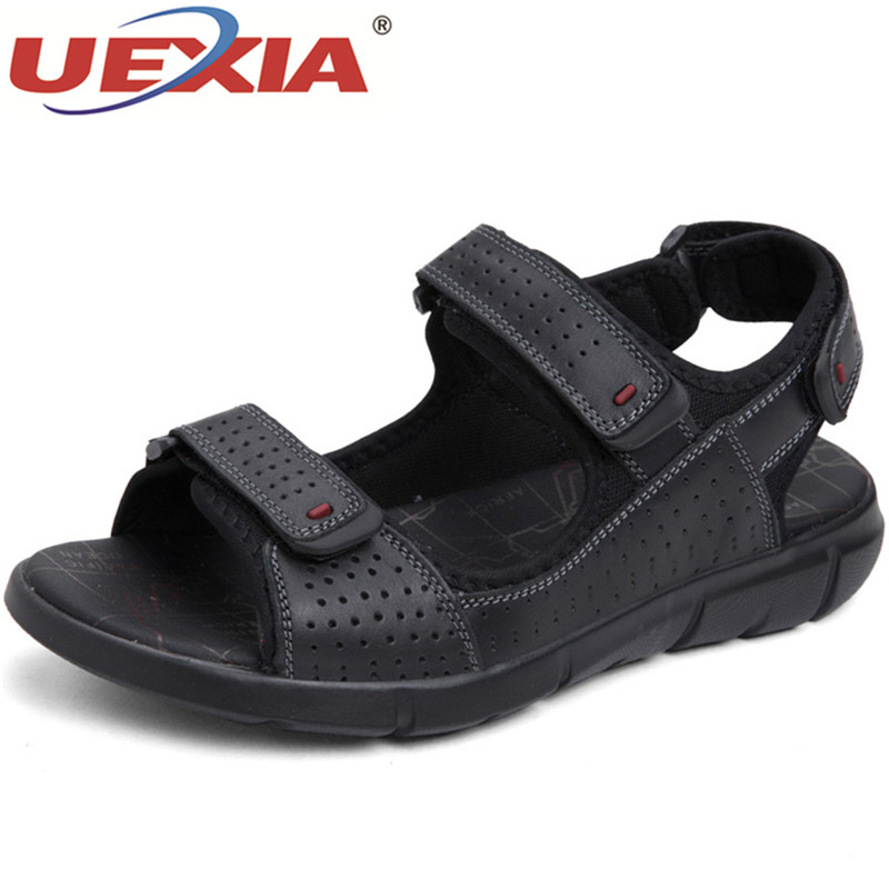 UEXIA Zapatos Hombre Leather Men Sandals Summer Flats Shoes Solid Handmade Breathable Casual Men shoes Slip On Walking Sandals