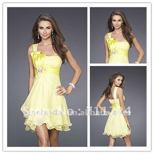 Pale Yellow One Strap Bow Short Summer Beach Dresses