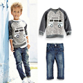 CCS253 детей набор мальчиков костюм обмундирования осени Американский стиль мультфильм длинный рукав футболки + джинсы мальчиков одежда розничная