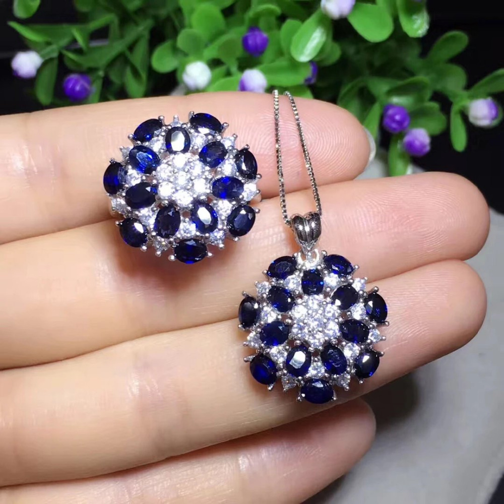 Qi Xuan_Dark Blue Stone Simple And Elegant Ring Sets_S925 Solid Silver Fashion Ring Jewelry Sets_Manufacturer Directly Sales Qi Xuan_Dark Blue Stone Simple And Elegant Ring Sets_S925 Solid Silver Fashion Ring Jewelry Sets_Manufacturer Directly Sales