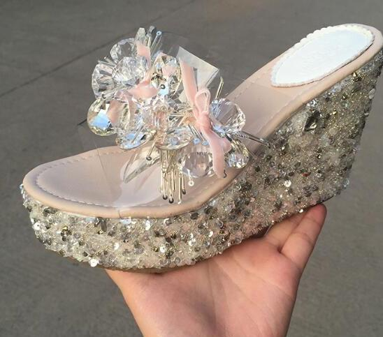 2017 newest handmade crystal beaded wedge slippers open toe butterfly-knot platform sandal transparent PVC sandal sweet wedge heel and knot design sandal for women