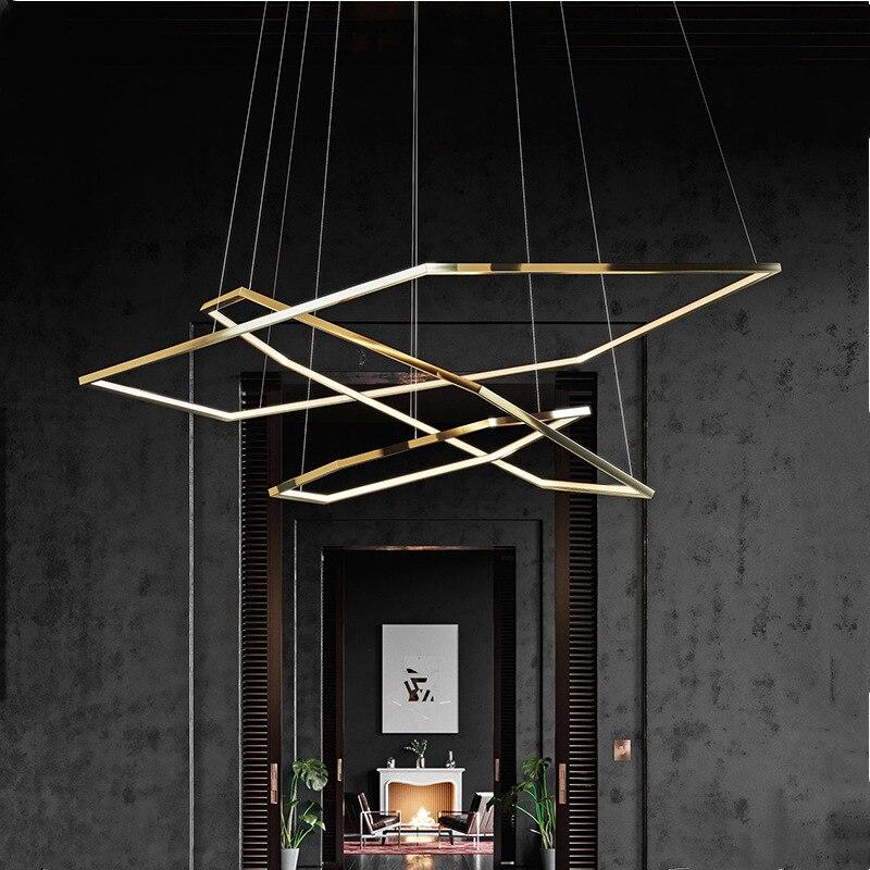 Hexagon Suspension Light Luxury Gold Fitting Modern Design LED Pendant Lamp For Living Room Villa Minimalist Lighting Decoration