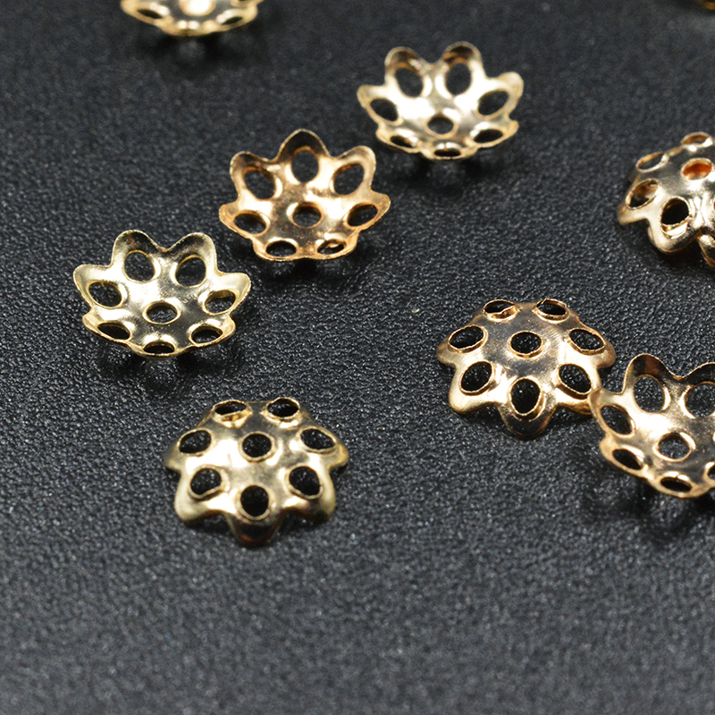 8mm Geo Petal Flower Bead Cap Antiqued Silver Tone 50pc Metal Alloy Finding