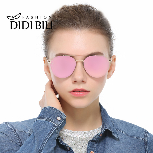 75321b17f6 DIDI Women s Polarized Gold Pink Sunglasses Men Big Round Rimless Sun Glasses  Luxury Brand Thin Frame Flat Lens Eyewear W725