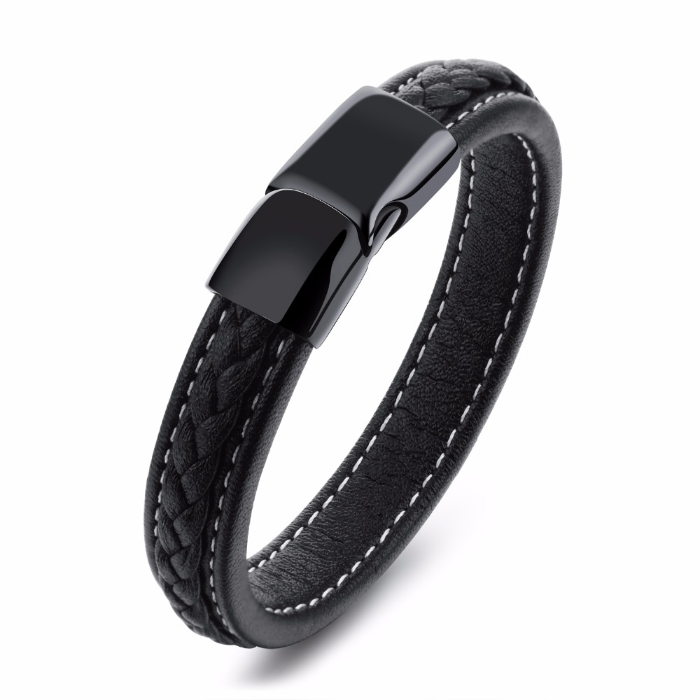 Custom Engrave Simple Leather Cuff Bracelet With Stainless Steel Black  Magnet Clasp